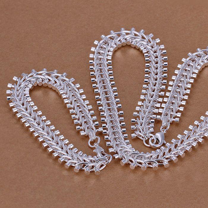 Conjunto de joyas de plata esterlina 925, conjunto de joyería de moda espina de pescado/cjdalaka cuaallha LKNSPCS042