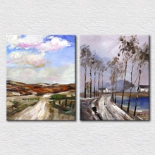 Image de paysage avec impression faite à la main   Ensemble de 2 pièces, en bleu frais et léger sur toile, décor artistique pour salon