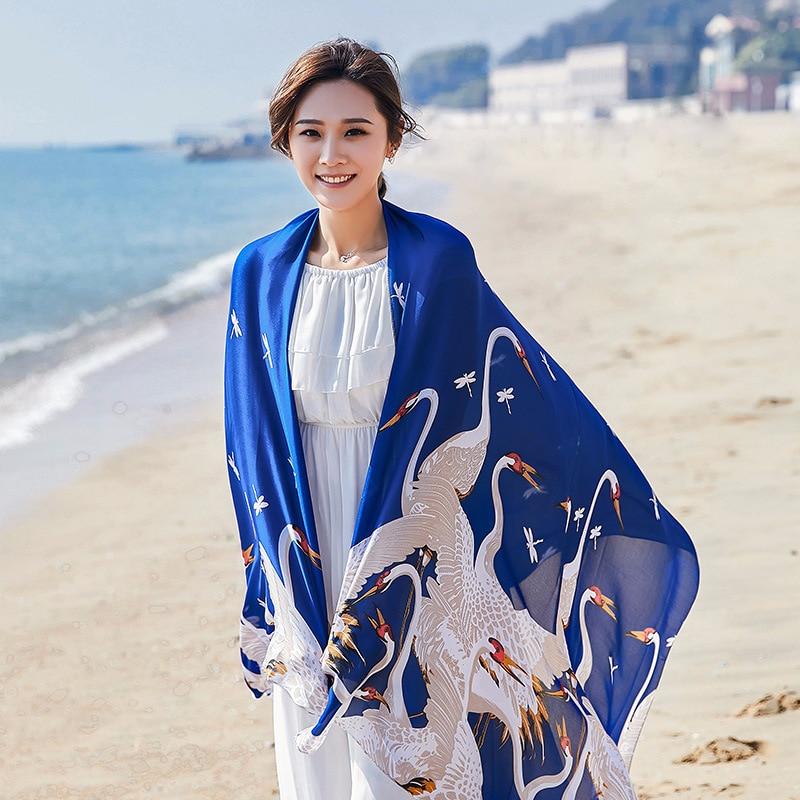 New spring autumn silk scarf long shawl sunscreen beach towel print scarf Women Shawl Fashion Scarves Shawls Brand Scarf Tops недорого