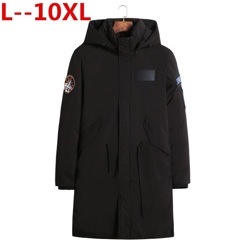 Abrigo de invierno de talla grande 10XL 9XL 8XL 6XL 2018 Casual para hombre chaqueta abrigada espesante medio largo abrigo a prueba de viento para hombre grande