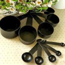 Poignée en Silicone cuillère tasses à mesurer   Tasses à mesurer noires, cuillère cuillère outil de mesure de cuisine, ensemble de mesure pour la cuisson du café et du thé 10 pièces