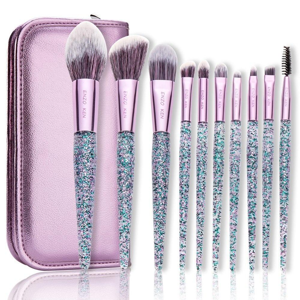 Fioletowy zestaw pędzli do makijażu ENZO KEN 10 sztuk podkład rozświetlający pędzel w proszku mieszanie cieni do powiek makijaż zestaw pędzli