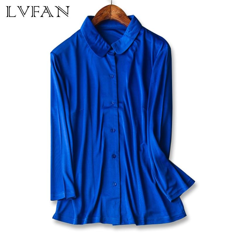 2020 mujeres muñeca Collar de manga larga pura seda natural de punto Top estilo de moda camisa de un solo pecho blusas de las mujeres