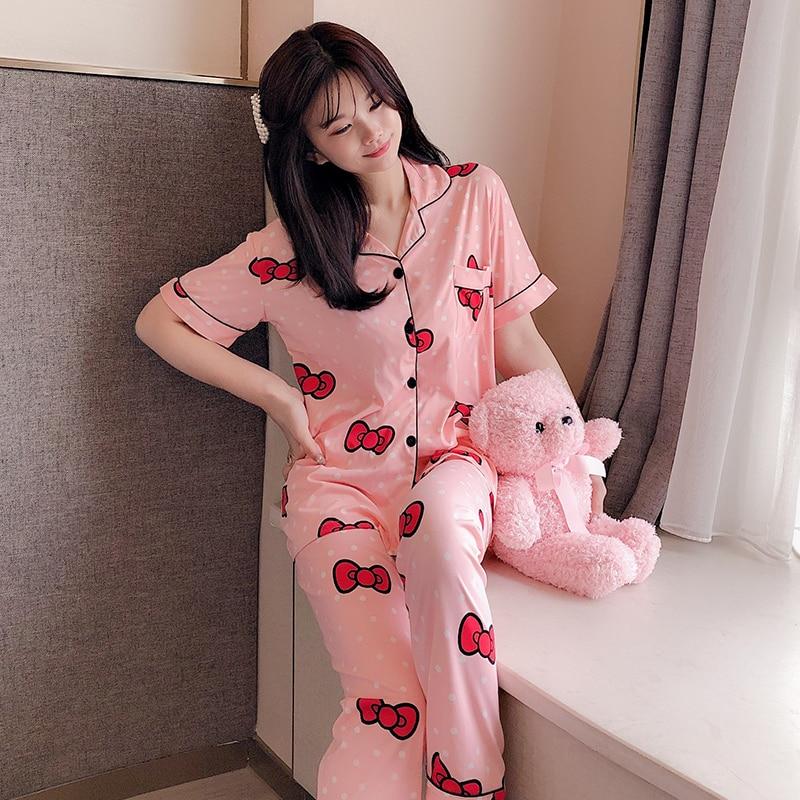 Women Leisure Wear Leisure Clothes Personality 2019 Summer Autumn Short Sleeved Women Pajamas Sets Long Pant Girls Pyjamas Sets
