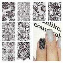 FWC Nail Art décalcomanies deau dentelle noire motifs de fleurs autocollants transfert deau Art des ongles tatouage