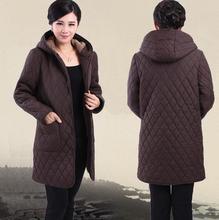 Parkas   winter new middle-aged women plus fertilizer to increase cotton velvet hooded winter coat jacket mother dress