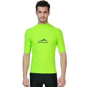 Мужской костюм для плавания SBART с коротким рукавом, рубашка с защитой от солнца, топ для серфинга