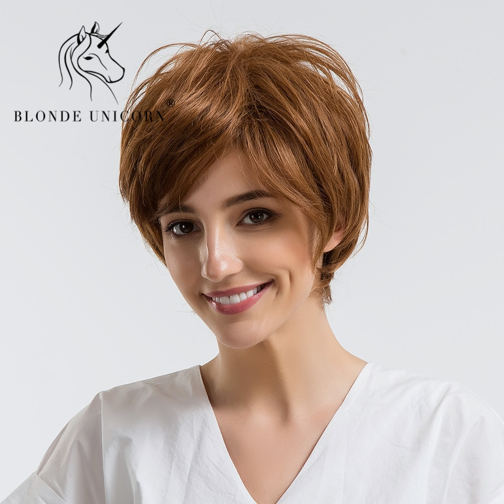BLONDE UNICORN 30% Human Hair Wig Pixie Cut Natural Wavy Fluffy Layers Wig With Bangs For White Women Short Blonde Free Shipping