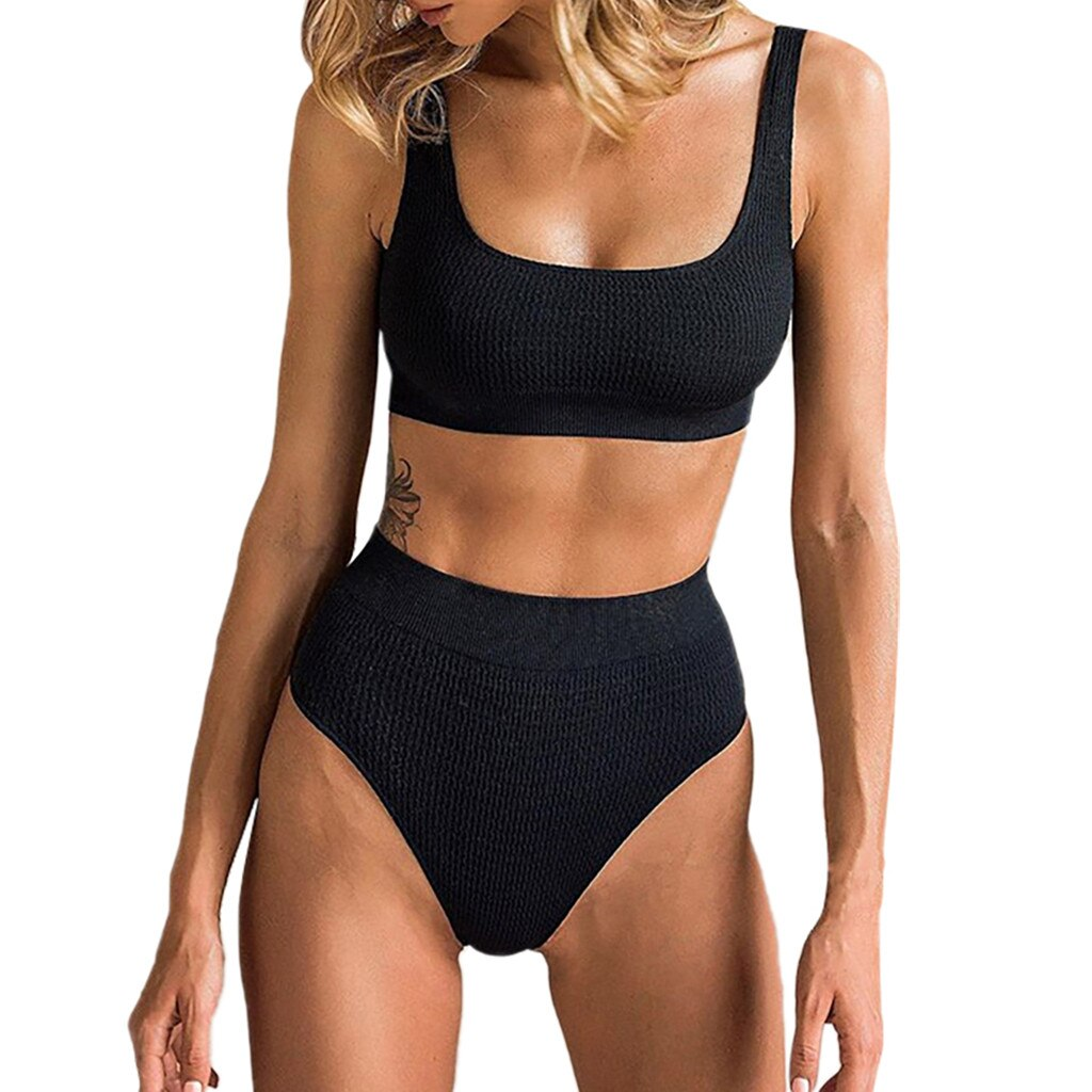 Bikinis 2019 mujer estampado verano Sexy alta cintura brasileño sólido chaleco traje de baño Monokini traje de baño biquini