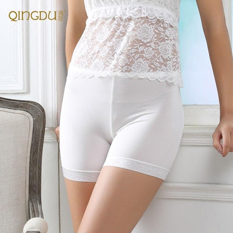 Pantalones de seda de seguridad Leggings femeninos de seda Anti verano con archivos estéreo de tres puntos.
