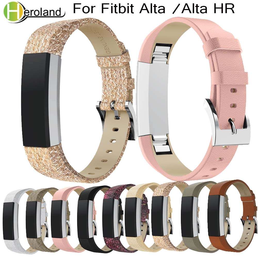 Luxury Genuine LeatherWatch Band Replacement Strap Bracelet For Fitbit Alta/Alta HR Tracker Smart Watch Wristband Bracelet Strap new high quality genuine stainless steel watch bracelet band strap for fitbit alta hr for fitbit alta watch wrist strap bands