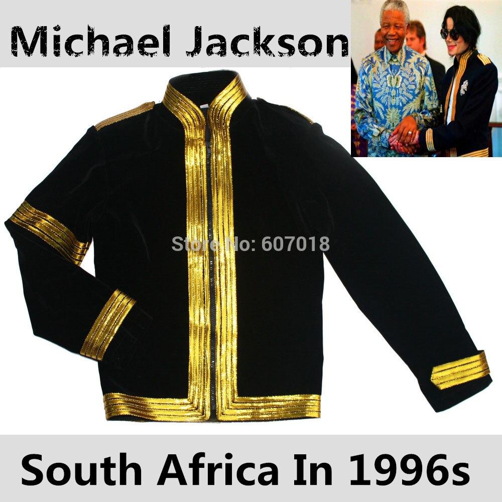MJ Michael Jackson Sudáfrica Nelson Mandela Tour negro militar Casual vestido chaqueta manga dorada ropa de Halloween en la década de 1996