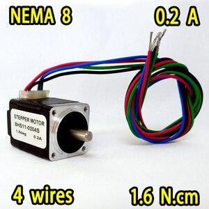 NEMA8 шаговый двигатель 8HS11-0204S 1.8 град 0.2A 1.6 N. cm момент Супер продаж! Бесплатная доставка! Высокое качество!