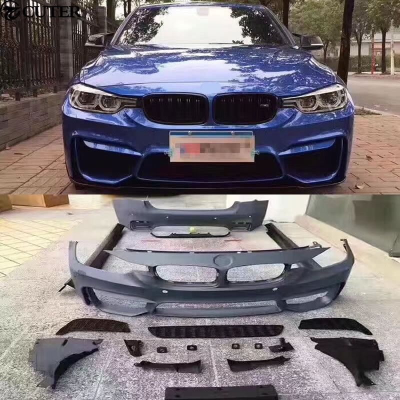 F30 F35 M3 M4 del cuerpo del coche kit PP sin pintar la parte trasera delantera para lateral de parachoques faldas para BMW F30 F35 M3 M4 13-15