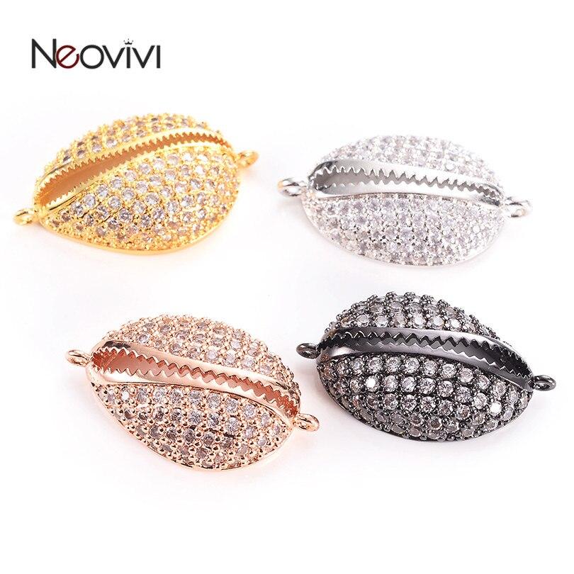Neovivi Shell encantos Pave blanco Micro Zircon Bling encantos cobre espaciador cuentas para hacer joyas, brazaletes DIY