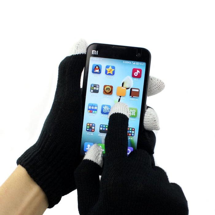 Guantes Unisex con pantalla táctil para enviar mensajes de texto a Smartphone, guantes negros tejidos para invierno para mujer