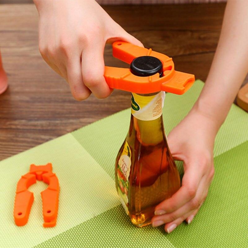 Abridor de botellas multifunción para vino, cerveza, coco, plástico, fácil apertura, naranja,...
