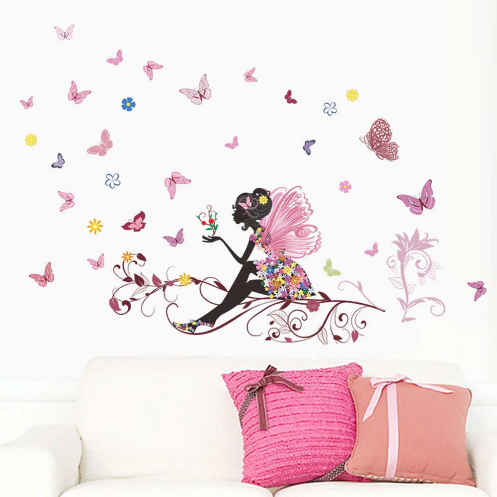 Divertido pegatinas de pared de nuevo Hada de flor con mariposa etiqueta engomada para ventana de pared papel pintado paredes de salón o dormitorio amor pegatinas para habitación de niños