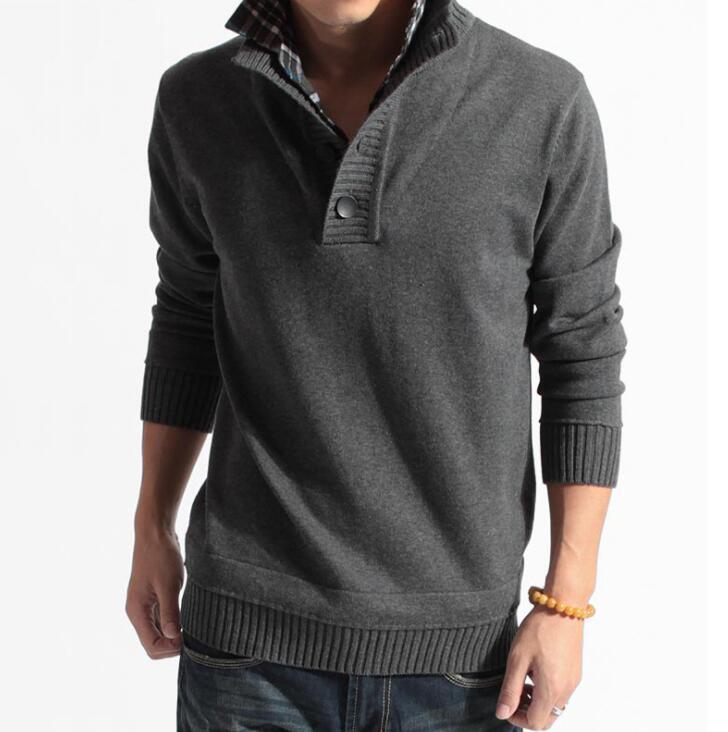 Jerseys tejidos informales para hombre, Otoño Invierno, jersey de manga larga de dos piezas falsas para hombre, ropa de abrigo de punto de color sólido para hombre