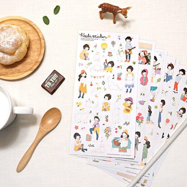 6 pièces/paquet Heeda deuxième trimestre du département de la forêt douce fille coréenne journal intime Pvc autocollants décoratifs
