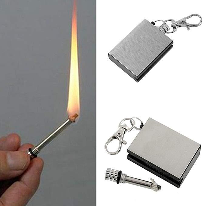 Stainless firestarter acampamento ao ar livre caminhadas sobrevivência flint portátil chaveiro jogo mais leve ferramenta de sobrevivência emergência fogo starter