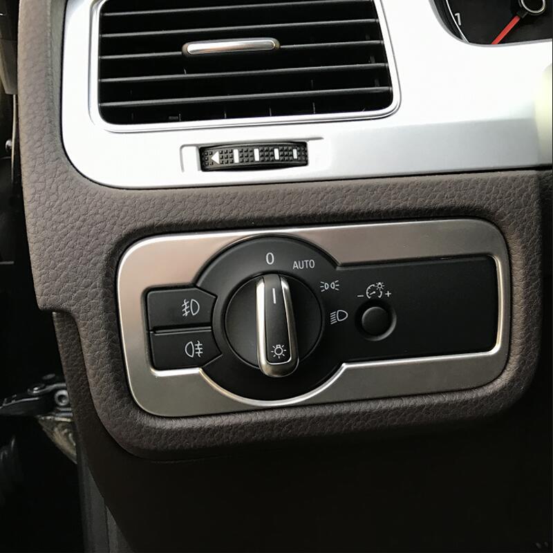 Para VW Volkswagen 2011, 2012, 2013, 2015, 2018 coche Touareg estilo lámpara para luces de automóvil interruptor de la cubierta de acero inoxidable embellecedor decorativo