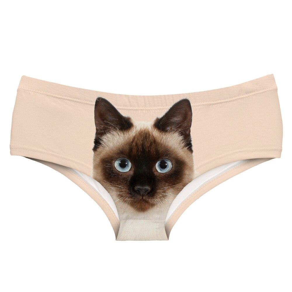 LEIMOLIS Siamese kitten Cat funny print sexy hot panties female kawaii Lovely underwear push up briefs women lingerie thongs