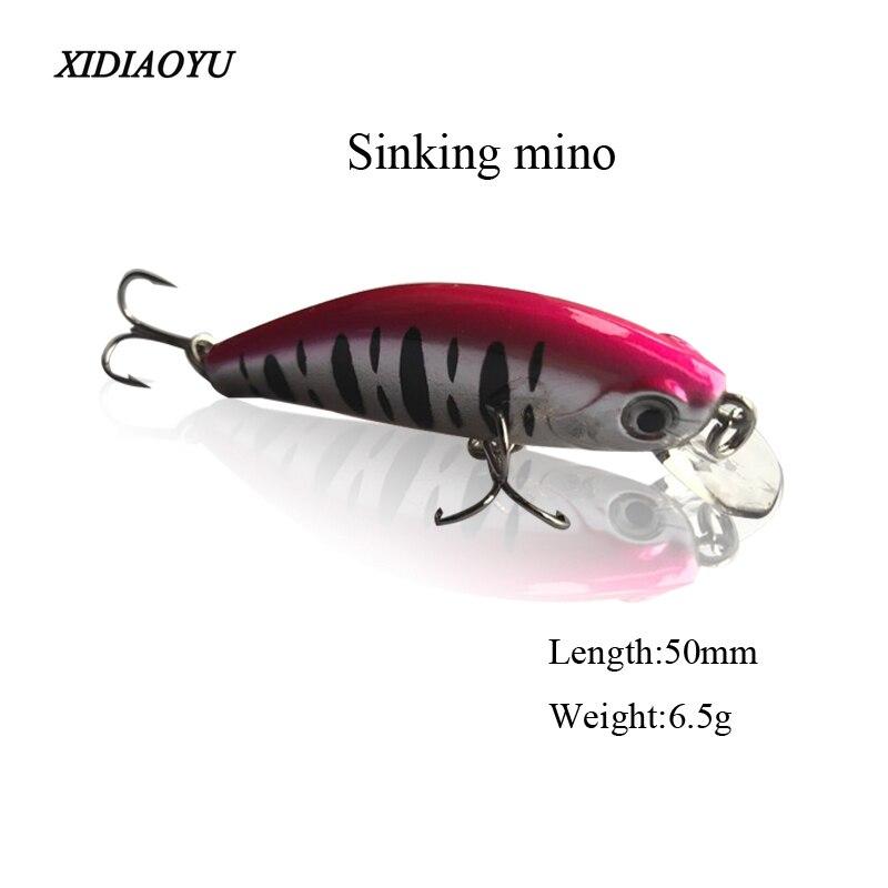 50 mm 6.5g isco duro pequeno min peixe manivela pesca isca afundando