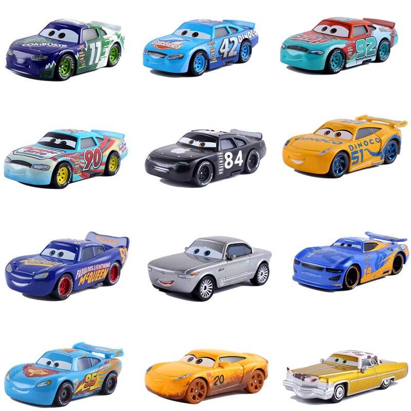 Coches de Disney Pixar coche 3 coche 2 McQueen coche juguete 155 troquelado de aleación de Metal modelo de coche de juguete para niños juguetes Regalo de Cumpleaños de Navidad