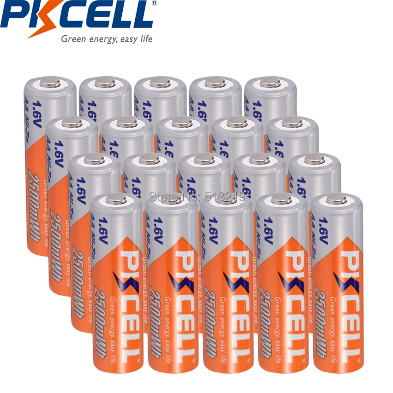 20 шт., аккумуляторная батарея PKCELL 1,6 в AA 2500MWH NIZN, никелево-цинковая батарея для игрушечного автомобиля, фонарика