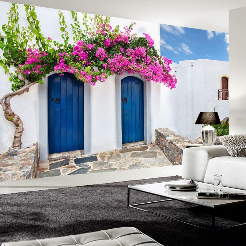 Papel pintado De foto De estilo mediterráneo 3D Grecia Pared De edificio pintura restaurante café dormitorio telón De fondo Mural Papel De pared