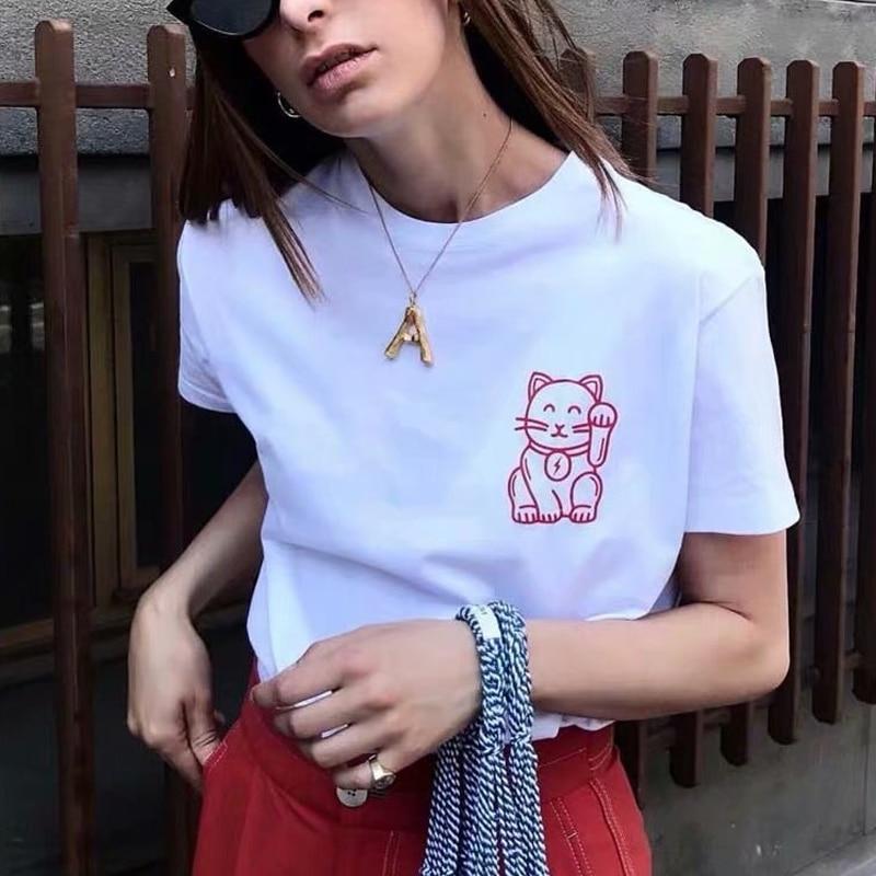 Harajuku estilo gato de la suerte de impresión Camiseta de manga corta Mujer Tee estética mujeres ropa blanco Tumblr
