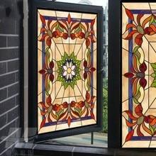 Custom Size Lotus Flower window film Static Cling church stained glass Film for Balcony sliding door wardrobe foil
