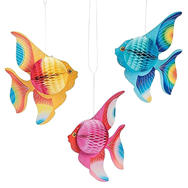 6 шт. разноцветная тканевая бумага Золотая рыбка тропические рыбки морские твари Висячие складные принадлежности для вечеринок украшение