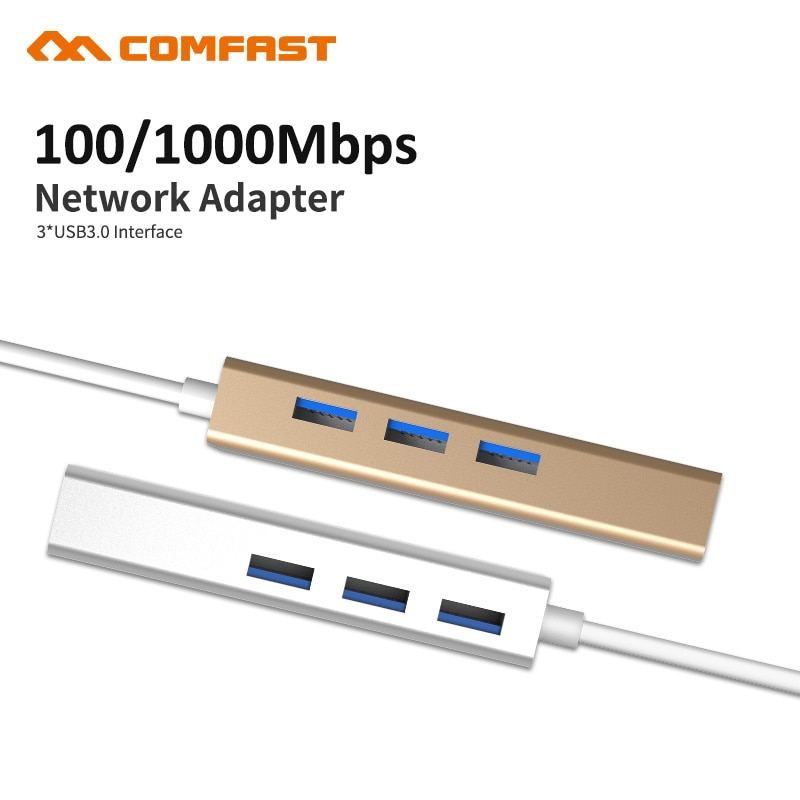 Comfast USB 3,1 tipo C a 3 puertos USB 3,0 Hub con RJ45 10/100/1000 Gigabit Ethernet adaptador de red LAN convertidor cableado Cable