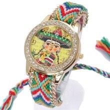 Genève montre femmes vintage mexicain Mariachi ethnique strass Style cadran mode montre-bracelet dentelle or chaîne tresse Reloj