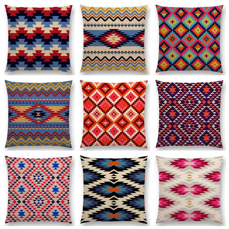 Colorido Padrão Geométrico Asteca Tribal Prints Abstract Rainbow Étnico Xadrez Sofá Capa de Almofada Decorativa Lance Fronha