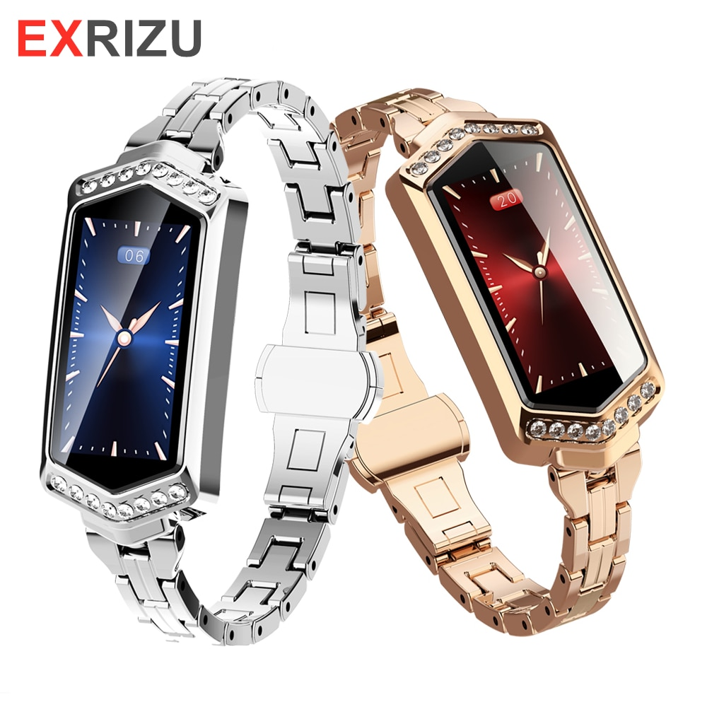 EXRIZU Women Smart Watch Fitness Bracelet Heart Rate Tracker Monitor Pedometer Blood Pressure Oxygen Fashion Sport Smartwatch