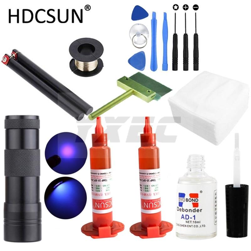 Pegamento UV LOCA tp-2500 de 5ml + Luz de curado UV + removedor de pegamento Uv + Alambre de Corte + ropa + cuchillo de limpieza + herramienta de palanca para reparación LCD de iphone
