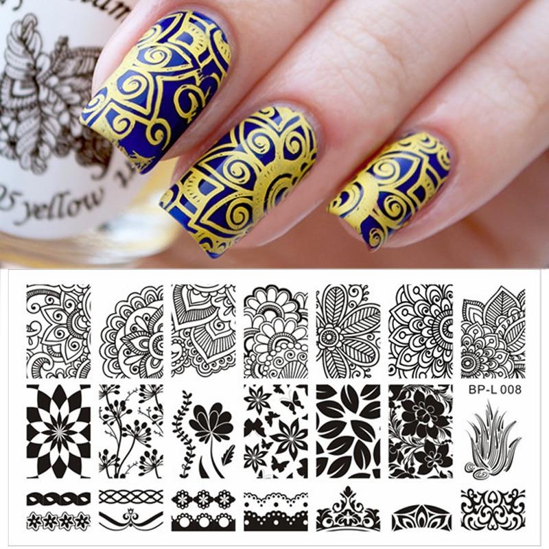 BORN PRETTY Nail Stamping placas varios estampado arabesco Nail Plantilla de sellos para decoración imagen placa DIY decoración BP-L008