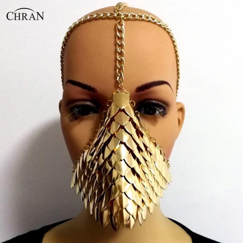 Chran Chainmail máscara Bra Scalemail armadura de hombro Cosplay Burning Man tocado cabeza cadena diadema Medieval Ren Fairy Jewelry