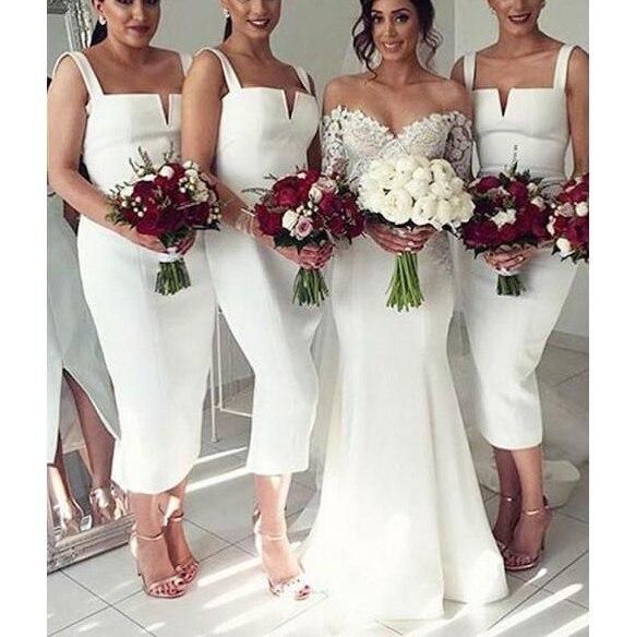 Vestidos de dama de honor spaguetti, vestido corto de fiesta blanco hasta...