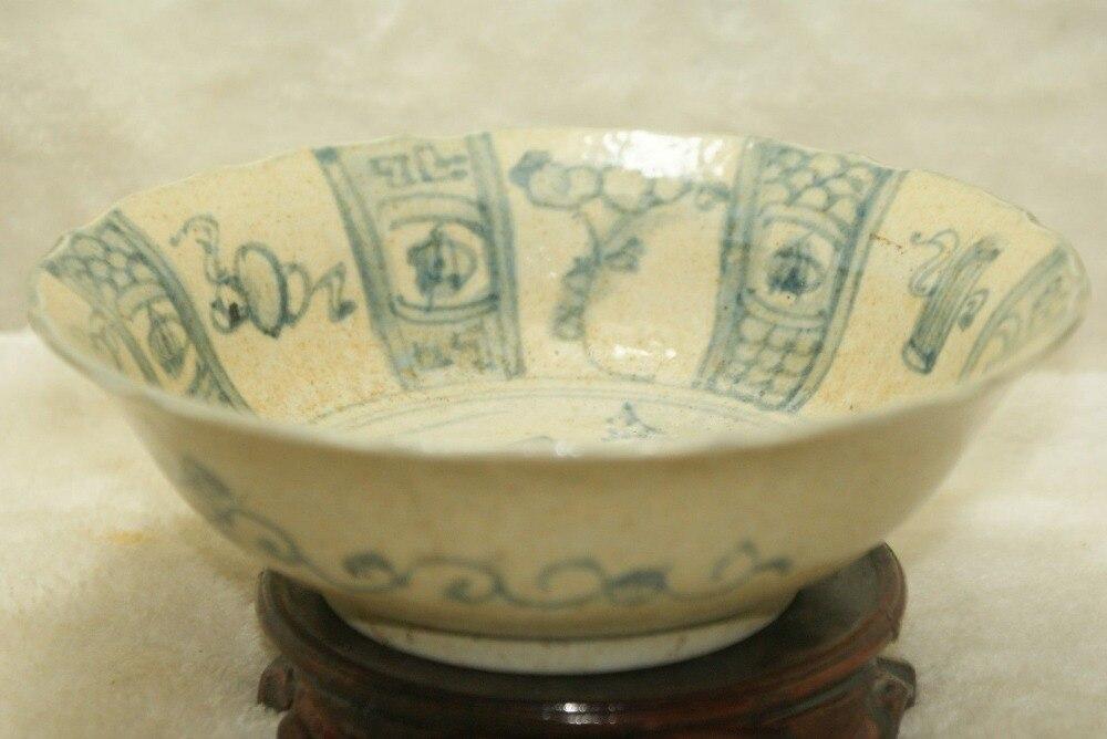Elegantes antiguos tazones de porcelana pintados de porcelana azul y blanco porcelana antigua coleccionable