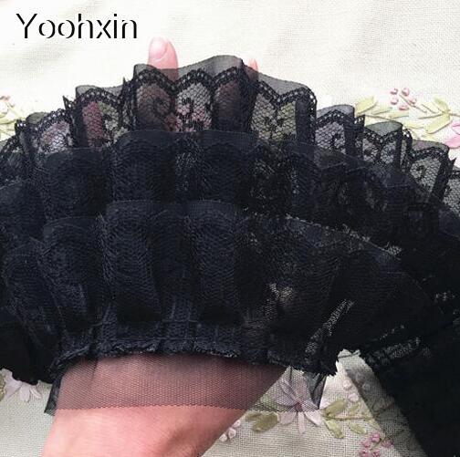 11 см широкая Роскошная вышивка белый черный цветок кружевная ткань отделка Лента DIY шитье аппликация воротник Дубай вуаль свадебные принадлежности