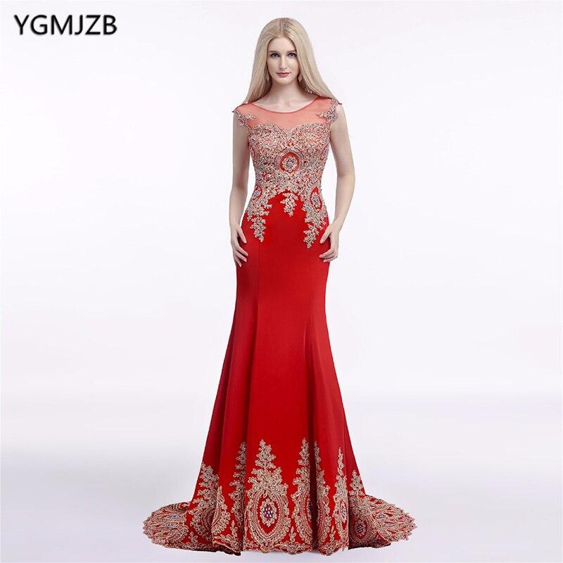 Vestido de graduación largo sexi rojo y azul real 2018 con espalda fina de sirena y Apliques de encaje dorados Vestidos formales de fiesta Vestidos de noche