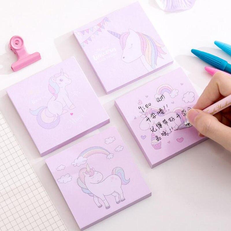Bloc de notas lindo unicornio Bloc de notas Plan de papel notas Adhesivas pegatinas Kawaii suministros de oficina Corea papelería página adhesiva