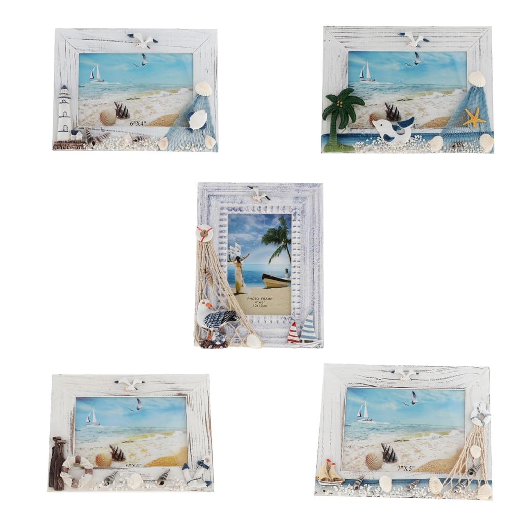 Marcos de mesa de estilo mediterráneo marco de fotos elegante de madera soporte de foto familiar de boda para la decoración de la cabaña de la boda del hogar