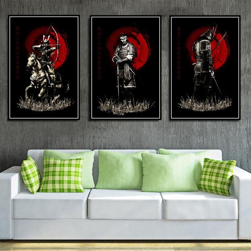 Póster e impresiones japonés samurái japonés Bushido artista moderno cuadro sobre lienzo para pared imágenes para sala de estar decoración del hogar