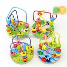 Nouveau enfant en bas âge bébé couleur bonbon jouet en bois Mini autour de perles fil labyrinthe jeu éducatif jouet AR jouet