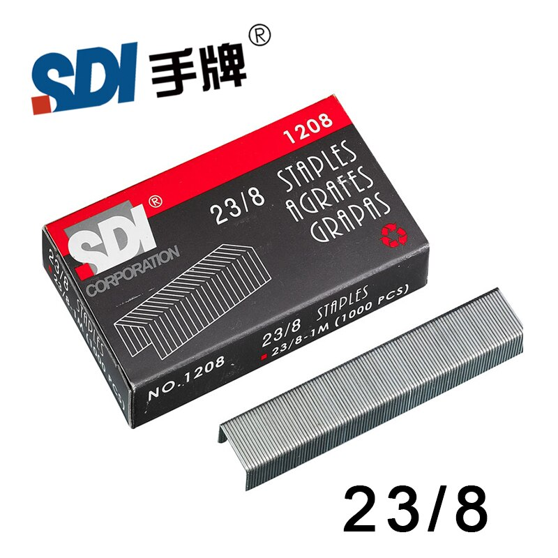 Taiwan SDI 23/8 grapas de alta resistencia en grapas grandes Metal plateado 1000 unids/caja 1208